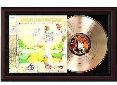 Elton John Yellow Brick 24k Gold LP Record With Reprint Autograph In Wood Frame
