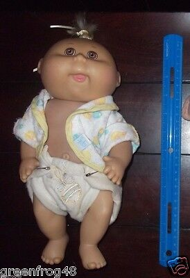 Vintage Cabbage Patch Kids Baby Doll Little Hair Robe Hard Body