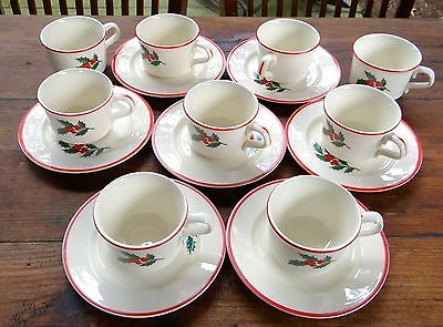 7 Sets Taylor Smith & Taylor Holly & Spruce Flat Cups & Saucers & 2 Extra Cups