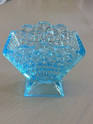"Antique (1898) ""Ice Blue Fan"" Toothpick Holder United States Glass Co."
