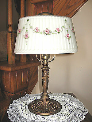Antique Pittsburgh Obverse Painted Not Reverse Painted Lamp - Signed