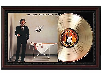 Eric Clapton - 24k Gold LP Record With Reprint Autograph In Cherry Wood Frame