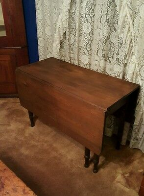 1800s antique walnut drop leaf table