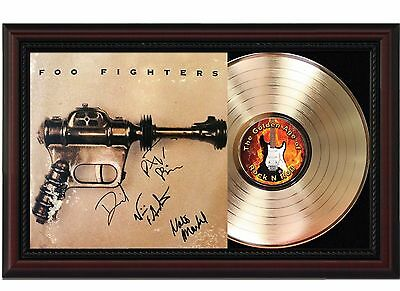 Foo Fighters - 24k Gold LP Record With Reprint Autograph In Cherry Wood Frame