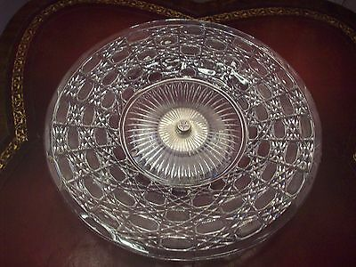 Crystal Cake Plate With Sterling Silver Bottom Vintage