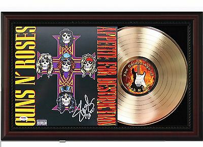 Guns N' Roses 24k Gold LP Record With Reprint Autographs In Cherry Wood Frame