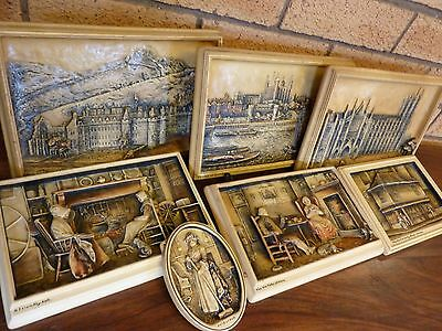 "7 x Antique Signed Arthur Osborne ""Ivorex"" 3D Wall Plaques Made in England"