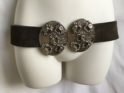 Vintage 60s 70s Gothic Silver Metal Crab Large Buckle Suede Leather Belt S/M