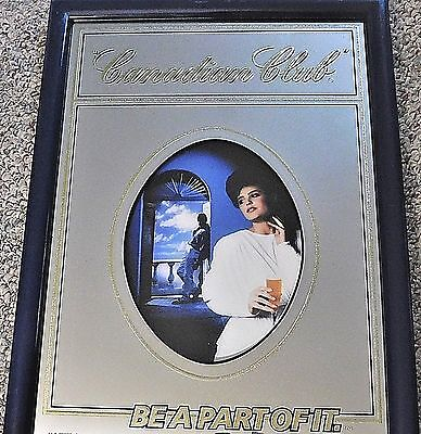 """Canadian Club Mirror Sign, 19 1/2"""" x 14 1/2"""", Woman in Foreground, Man in Back"""