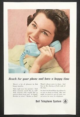 1959 Vintage Print Ad BELL TELEPHONE Woman Beautiful Smile Talking On Phone