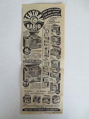Vintage advertising original 1950s Australian ad for CENTRAL RADIO MELBOURNE