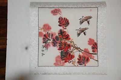 Chinese Painting Birds 17 x 17 - On Linen-Like Material - Beautiful Colors
