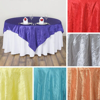 """24 x Wholesale Lot CRINKLED 90x90"""" SQUARE Table OVERLAYS Wedding Party Linens"""