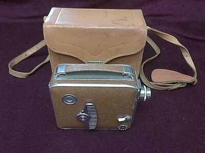 Keystone Olympic Vintage 1950's 8mm Movie Camera with Leather Case