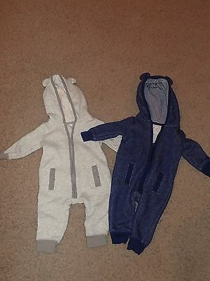 Lot of 2 Carters One Piece w/ Hood - 3 Month - Boys - One Blue/One Grey - Zipper