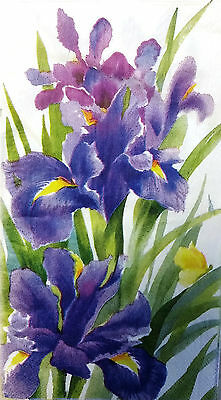 TWO (2) Iris Flowers Paper Hostess Napkins for Decoupage and Paper Crafts