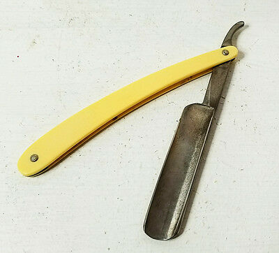 """vtg """"Easy Cutter"""" straight razor - yellow plastic handle - partial box included"""
