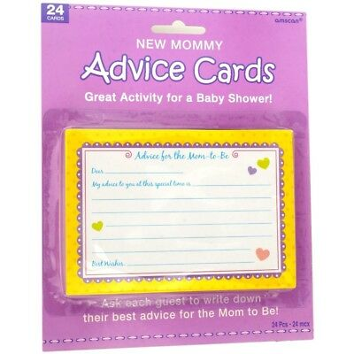 Baby Shower Advice Cards x 24 New Mum To Be Game Favour Supplies