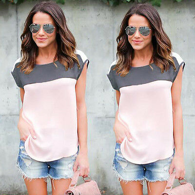 USXN Fashion Womens Summer Casual Cotton Blouse Short Sleeve Blouse Top WR63