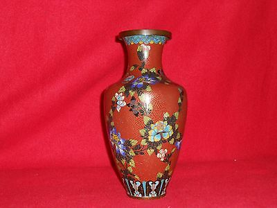 Antique Chinese Red Cloisonne Vase* No Base*