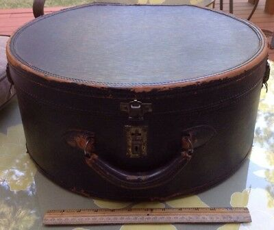 ANTIQUE LEATHER train DOUBLE HAT trunk BOX chest LUGGAGE suitcase large 18x17x12