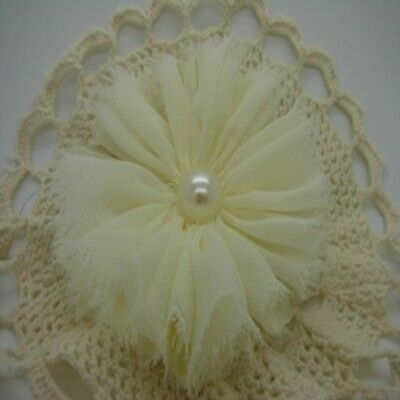 Cream Chiffon Flower with Pearl Centre x 1 RNB