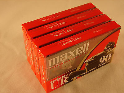 Lot of 4 Maxell UR-90 Audio tapes (90 minute, cassettes, type 1, NEW, sealed)
