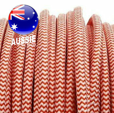 Candy Cane Red & White vintage style ROUND fabric electrical cord cloth cable 1m