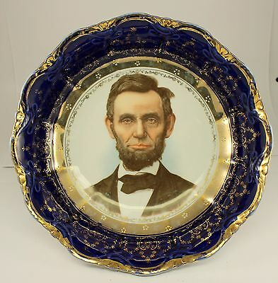 ABRAHAM LINCOLN Decorative Porcelain Bowl ~ GERMANY ~ Antique China Blue & Gold