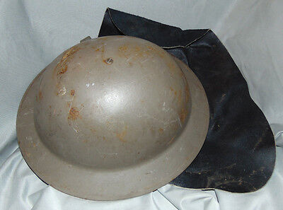 WW1 M1917 Brodie Helmet w/ Leather Sun Neck Guard & Original Liner Estate Fresh