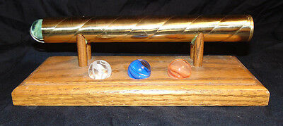 Vintage Brass Kaleidoscope w/ 4 Marble Attachments & Wooden Stand