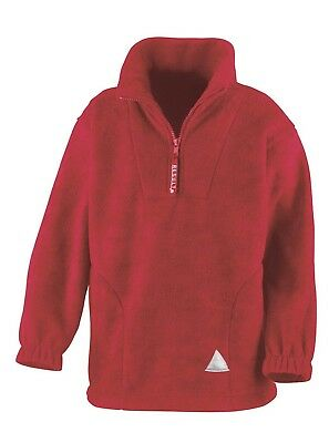 (10-12, Red) - Result Kids/Youths Zip Neck Active Fleece. Free Delivery