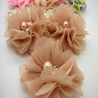 Antique Chiffon Flower with Bead Centre x 2 RNB