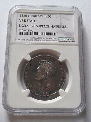 NGC VF Great Britain 1/2 Crown, 1826. Sterling silver, George IV, S.3809