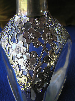 Japanese  sterling silver overlay whiskey decanter