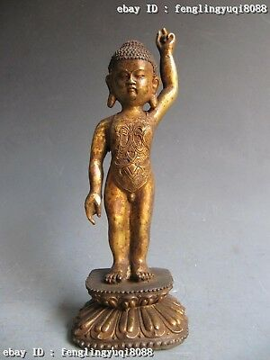 """10""""Chinese Buddhism Temple Old Copper Bronze Carved Sit Boy Yu Buddha Statue"""