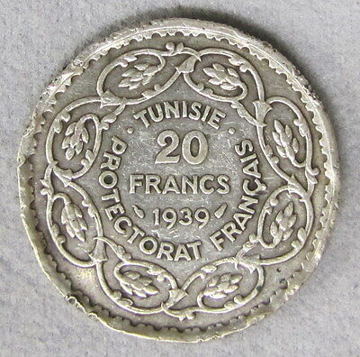 1939 Tunisia 20 Francs Silver Coin, Dings on Rim.