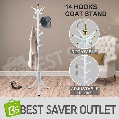 Tree style Metal 14 Hooks Coat Rack Stand Hat Bag Clothes Umbrella White