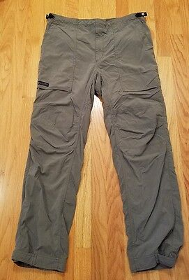 "Columbia Mens Size S Inseam 32"" Hiking Pants Gray Adjustable Waist & Ankle"