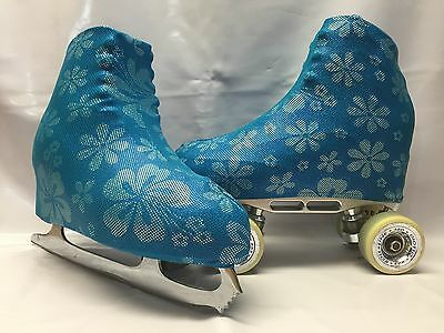 Blue Holo Floral Boot Covers for RollerSkates and Ice Skates  S,M,L