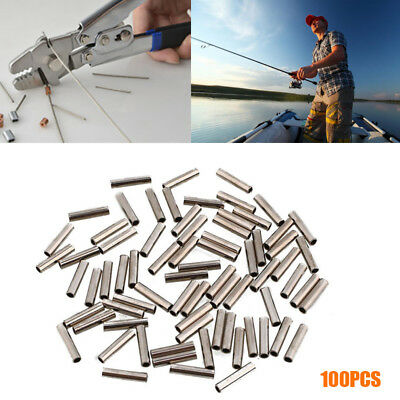 100pcs Metal Fishing Line Pipe Crimp Sleeves Outdoor Tackles Accessories