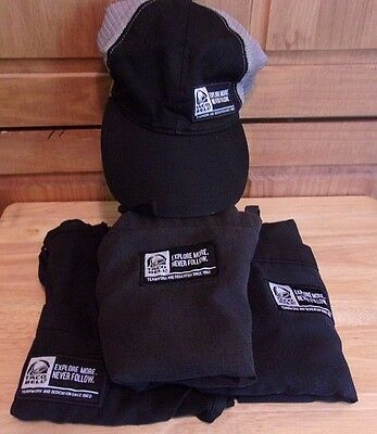 Taco Bell Explore More Never Follow Workers 3 Aprons 1 Ball Cap Hat Lot