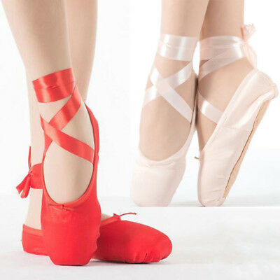Professional Girls Adult Women Satin Ballet Dance Pointe Shoes With Leather Toe