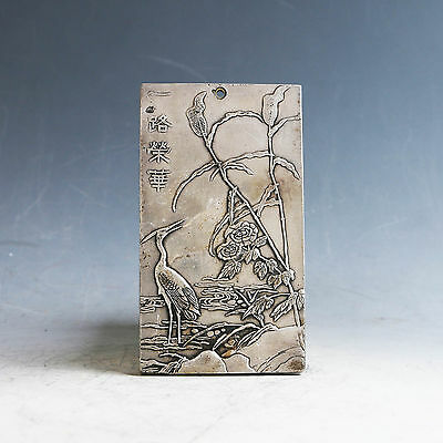 """Delicate Chinese Tibetan Silver Handwork Carved """"一路荣华"""" Pendant"""