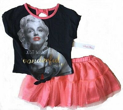 Toddler Girls Marilyn Monroe Sale Coral Tutu & Bow Top 2 PC Outfit Set 2T 3T 4T