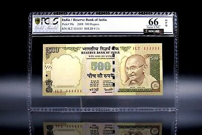 2008 India 500 Rupees Solid Numbers Super Solid 111111s PCGS P-99 66 OPQ Gem UNC
