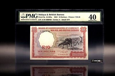 1961 Malaya & British Borneo $10 Small A S/N PMG 40 P-9a Extremely Fine