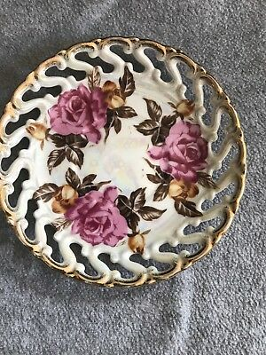 Royal Sealy China Plate Pink Rose Vintage Iridescent Saucer Plate Lustreware
