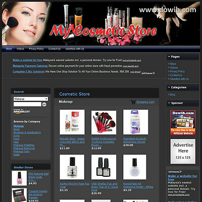 Established Cosmetic Makeup Store Affiliate Business Website Sale! Free Domain!