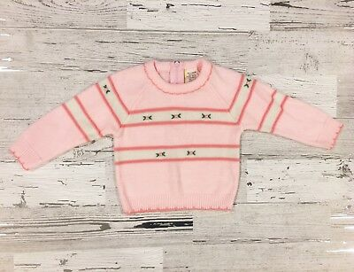 Amazing Vintage Girl's Pink and White Striped Sweater with Embroidered Flowers